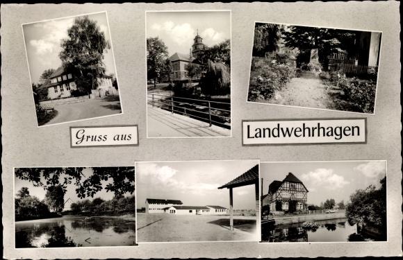 Ak Landwehrhagen Staufenberg Niedersachsen, Kirche, Gedenkstein, Fachwerkhaus, Seepartie