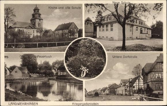 Ak Landwehrhagen Staufenberg in Niedersachsen, Kirche, alte und neue Schule, Feuerteich, Dorfstraße