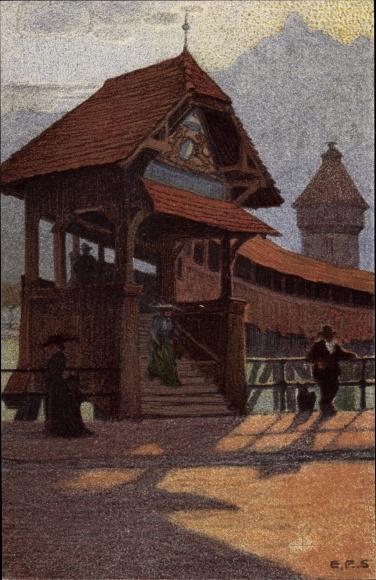 Künstler Ak Luzern Stadt Schweiz, Kapellbrücke, Pilatus