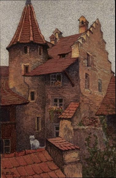 Künstler Ak Luzern Stadt Schweiz, Hof an der Rössligasse, Katze