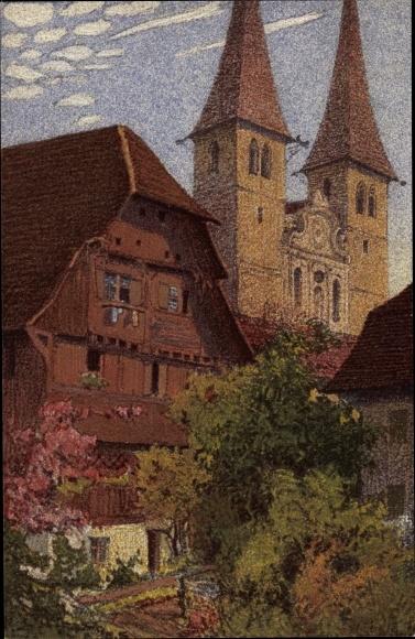 Künstler Ak Luzern Stadt Schweiz, Hofkirche, Kaplanenhaus