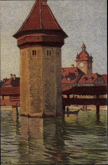 Künstler Ak Luzern Stadt Schweiz, Wasserturm, Rathaus