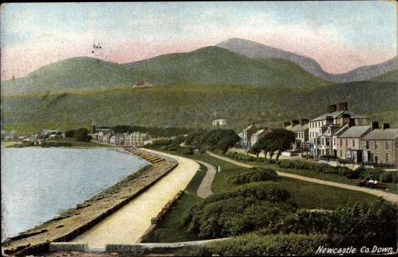Postcard Newcastle Down Nordirland, Panorama