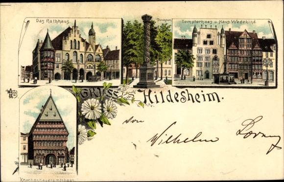 Litho Hildesheim in Niedersachsen, Rathaus, Templerhaus, Haus Wedekind, Knochenhaueramtshaus