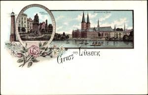 Litho Lübeck in Schleswig Holstein, Geibel Denkmal, Museum, Dom, Leuchtturm