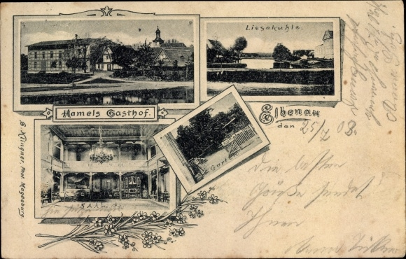 Ak Elbenau Schönebeck Sachsen Anhalt, Hamels Gasthof, Saal, Garten, Liesekuhle