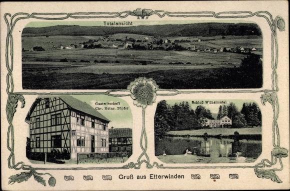 Ak Etterwinden Thüringen, Totalansicht, Gastwirtschaft Chr. Heinr. Töpfer, Schloss Wilhelmstal