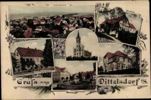 Ak Dittelsdorf Zittau Sachsen, Totalansicht, Pfarrhaus, Kirche, Neue Schule, Oberdorf, Kirchschule