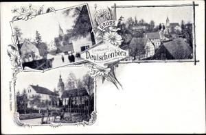 Ak Deutschenbora Nossen Landkreis Meißen, Ortspartie, Kirche, Blick über die Dächer der Stadt
