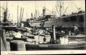 Ak Hamburg, Hafenpartie, Dampfer, Schlepper Christine, Verladung von Waren