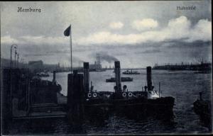 Ak Hamburg, Hafenpartie, Anlegestelle, Schlepper