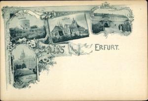 Passepartout Ak Erfurt in Thüringen, Cyriaxburg, Dom, Peterstor