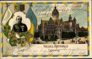 Litho Leipzig in Sachsen, Neues Rathaus, König Friedrich August III. von Sachsen