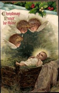 Ak Frohe Weihnachten, Krippenszene, Christkind, Putti