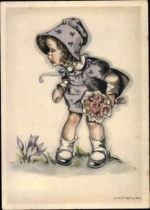 Künstler Ak Peyk, Hilla, Mädchen mit Blumenstrauß