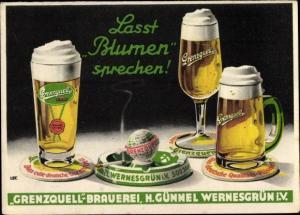 Ak Lasst Blumen sprechen, Grenzquell Brauerei, H. Günnel Wernesgrün