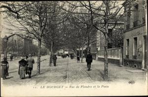 Ak Le Bourget Seine-Saint-Denis, Rue de Flandre et la Poste