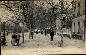 Ak Le Bourget Seine-Saint-Denis, Rue de Flandre et la Porte