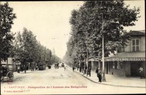 Ak Saint Ouen Seine-Saint-Denis, Perspective de l'Avenue des Batignolles