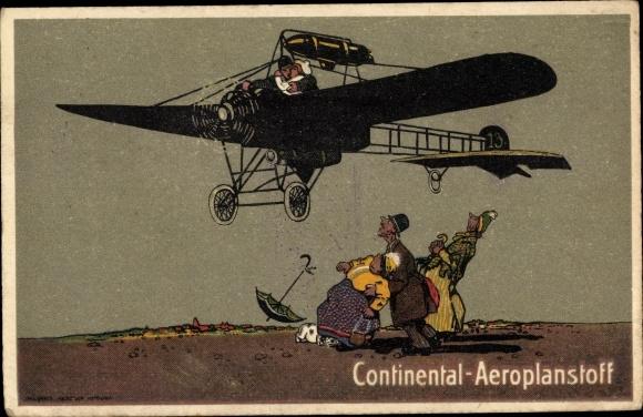Ak Continental Aeroplanstoff, Propellerflugzeug, Werbung 0