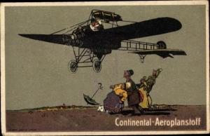 Ak Continental Aeroplanstoff, Propellerflugzeug, Werbung