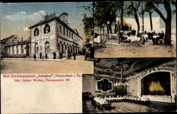 Ak Hainichen in Sachsen, Amtshof, Garten, Innenansicht 0