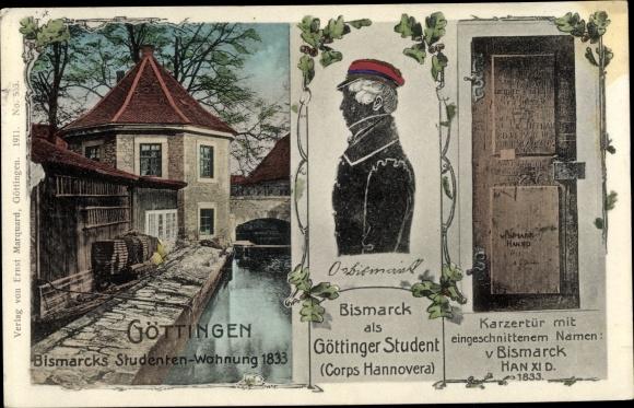 Ak Göttingen in Niedersachsen, Bismarck als Göttinger Student, Studentenwohnung 1833, Karzertür 0