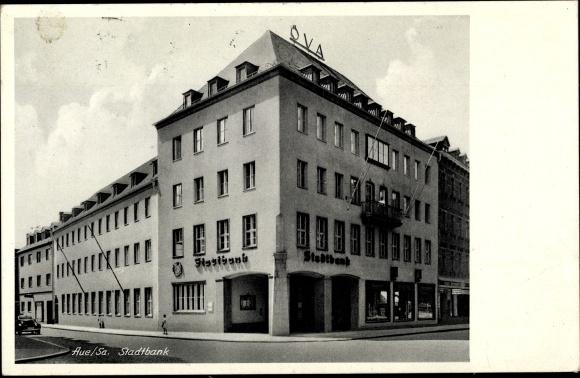 Ak Aue im Erzgebirge Sachsen, Stadtbank 0