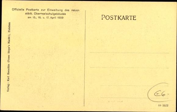 Ak Lutherstadt Eisleben in Sachsen Anhalt, Städtische Oberrealschule, Haupteingang, Erker 1