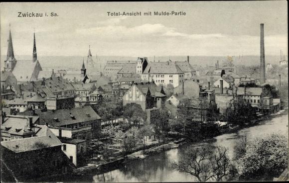 Ak Zwickau in Sachsen, Totalansicht mit Mulde Partie 0