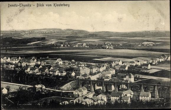 Ak Demitz Thumitz in Sachsen, Blick vom Klosterberg auf den Ort 0
