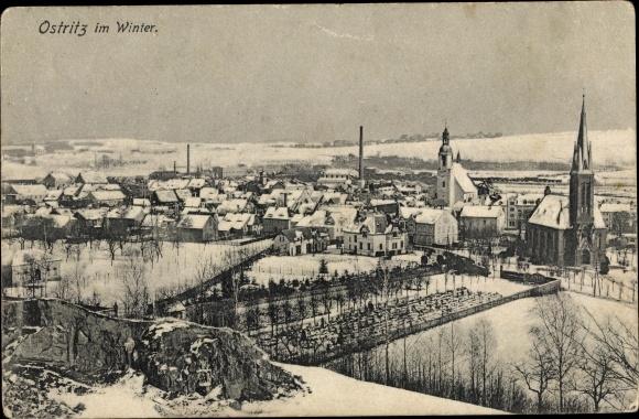 Ak Ostritz in der Oberlausitz, Panorama vom Ort im Winter 0