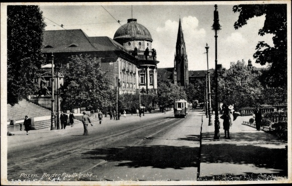 Ak Poznań Posen, An der Paulikirche, Straßenbahn 0