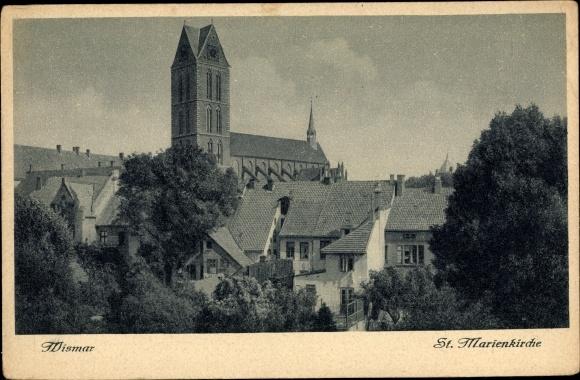 Ak Wismar in Mecklenburg Vorpommern, St. Marienkirche 0
