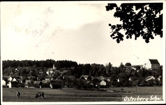 Foto Ak Osterberg Schwaben, Panorama vom Ort 0