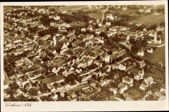 Ak Weilheim im Schongau Oberbayern, Fliegeraufnahme 0