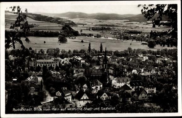 Ak Rudolstadt in Thüringen, Blick vom Hain auf westliche Stadt und Saaletal 0