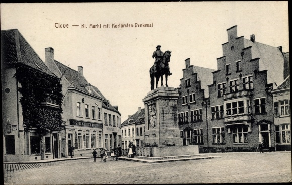 Ak Kleve am Niederrhein, Kleiner Markt mit Kurfürstendenkmal 0