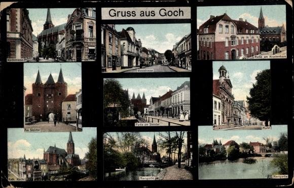 Ak Goch in Nordrhein Westfalen, Kirchstraße, Krankenhaus, Steintor, Markt 0