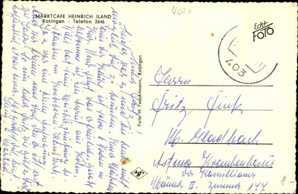 Ak Ratingen Nordrhein Westfalen, Marktcafé Heinrich Hand, Gesellschaftszimmer 1