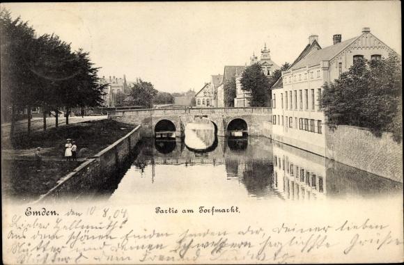 Ak Emden in Ostfriesland, Partie am Torfmarkt 0