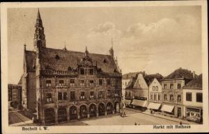 Ak Bocholt im Münsterland, Markt mit Rathaus