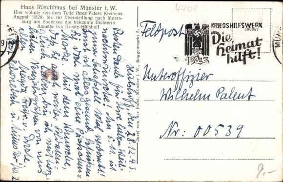 Ak Münster in Westfalen, Haus Rüschhaus 1