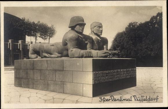 Ak Golzheim Düsseldorf Nordrhein Westfalen, 39er Denkmal, Einweihungsfeier 0