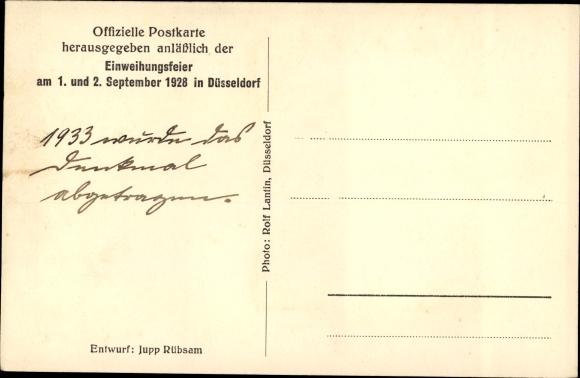 Ak Golzheim Düsseldorf Nordrhein Westfalen, 39er Denkmal, Einweihungsfeier 1