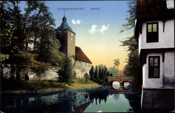 Ak Burgsteinfurt Steinfurt in Nordrhein Westfalen, Schloss, Wasserpartie 0