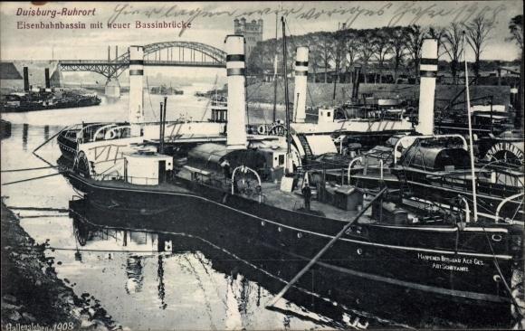Ak Ruhrort Duisburg Nordrhein Westfalen, Eisenbahnbassin mit neuer Bassinbrücke 0