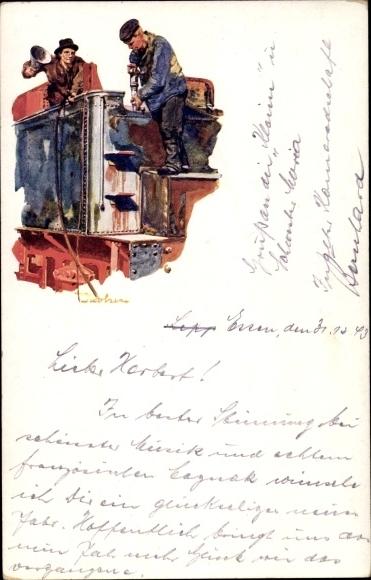 Künstler Ak Essen im Ruhrgebiet, Krupp Lokomotiv- und Wagenbau 0