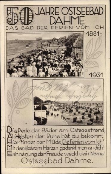 Passepartout Ak Dahme in Ostholstein, 50 Jahre Ostseebad 1931 0