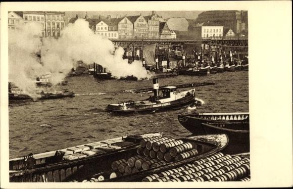 Ak Hamburg, Hafenpartie, Schlepper auf der Elbe, Binnenschiffe, Warentransport 0